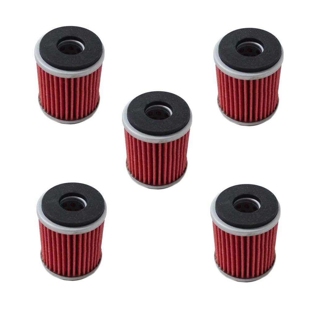 Poweka Oil Filter Fit For Yamaha YZ250F YBR250 YZ450F WR250F WR450F YFM250R YFZ450X YZ250F Replace HF140 KN140 (5 Packs)